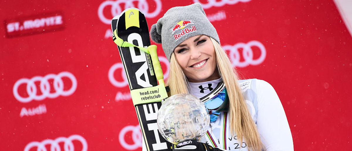Lindsey Vonn of the USA wins the downhill crystal globe during the Audi FIS Alpine Ski World Cup Finals Men's and Women's Downhill on March 16, 2016 in St. Moritz, Switzerland. (Photo by Alain Grosclaude/Agence Zoom/Getty Images)