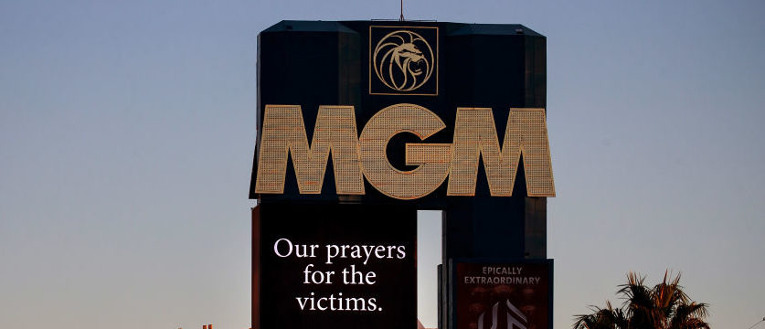 A message of condolences for the victims of Sunday night's mass shooting is displayed on the marquee of the MGM Grand Hotel & Casino, October 3, 2017 in Las Vegas. (Photo by Drew Angerer/Getty Images)