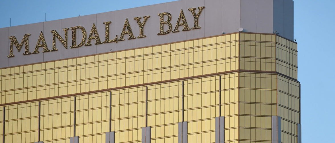 LAS VEGAS, NV - OCTOBER 02: Broken windows are seen on the 32nd floor of the Mandalay Bay Resort and Casino after a lone gunman opened fire on the Route 91 Harvest country music festival on October 2, 2017 in Las Vegas, Nevada. The gunman, identified as Stephen Paddock, 64, of Mesquite, Nevada, allegedly opened fire from the Mandalay Bay Resort and Casino on the music festival, leaving at least 50 people dead and hundreds injured. Police have confirmed that one suspect has been shot. The investigation is ongoing. (Photo by David Becker/Getty Images)