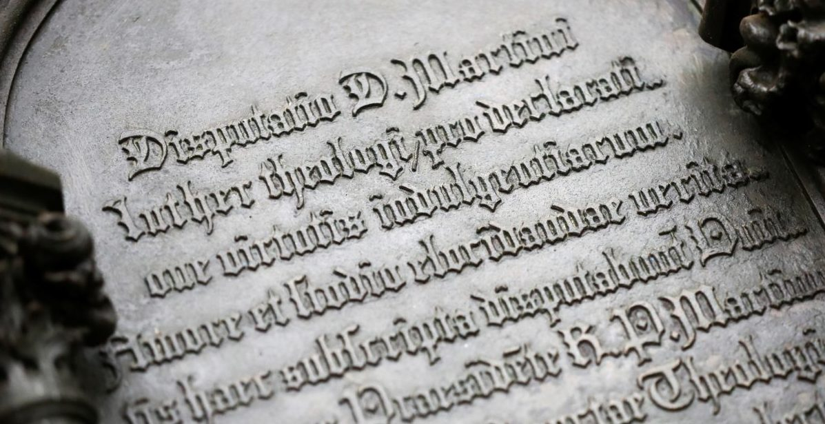 German theologian Martin Luther's theses door is pictured during the 500th anniversary of the Reformation at the Castle Church in Wittenberg, Germany, October 31, 2017. REUTERS/Hannibal Hanschke