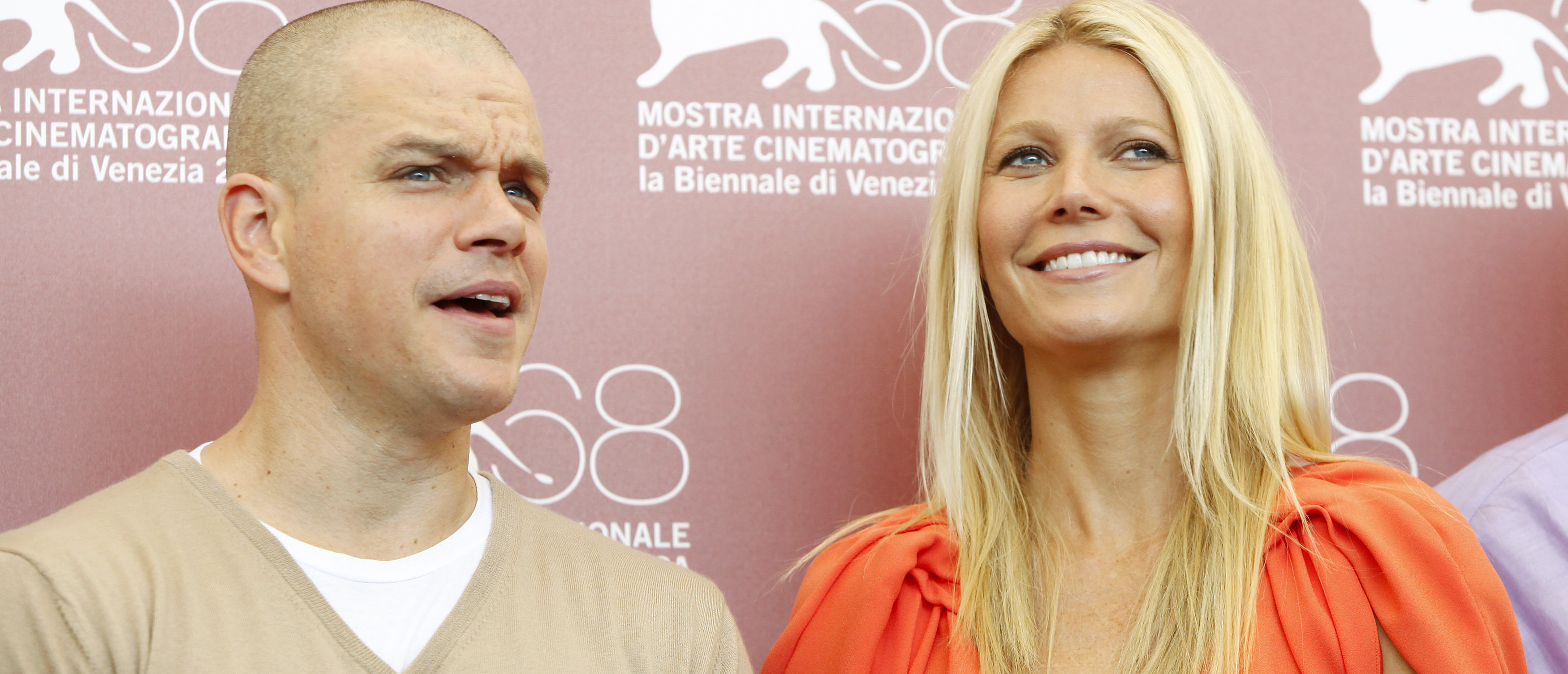 "Actors Gwyneth Paltrow (R) and Matt Damon pose during a photocall of their film ""Contagion"" at the 68th Venice Film Festival September 3, 2011. REUTERS/Alessandro Garofalo (ITALY - Tags: ENTERTAINMENT) - GM1E7931NT401 (Shutterstock)"