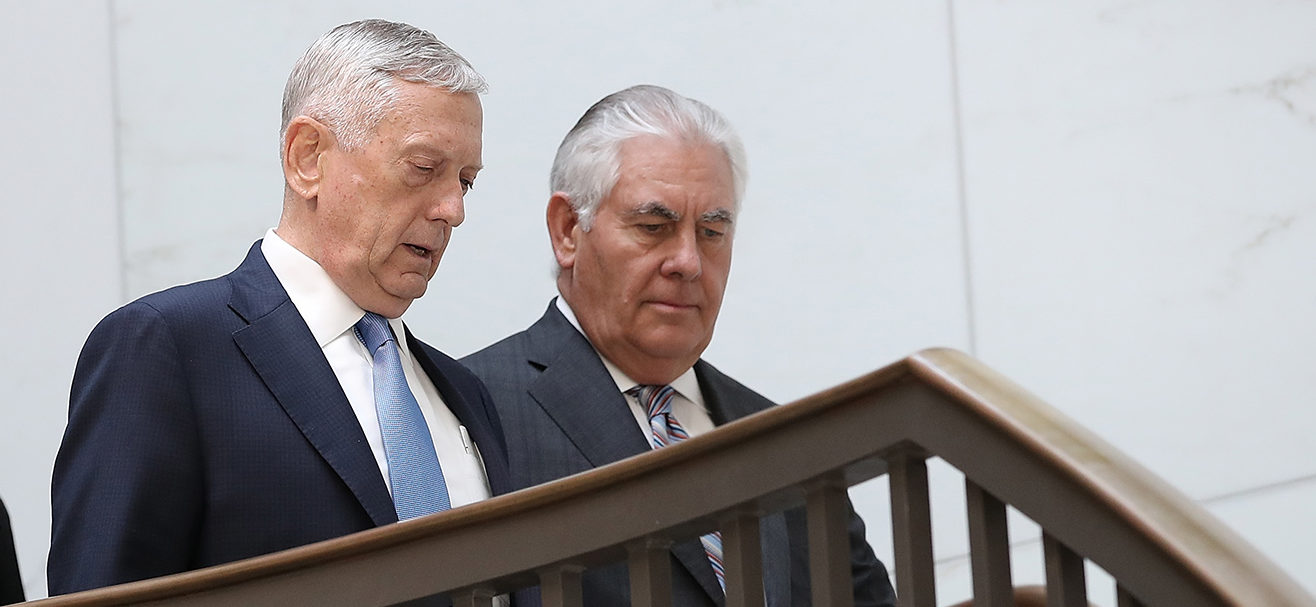 "U.S. Secretary of Defense James Mattis (L) and Secretary of State Rex Tillerson (R) arrive for a closed briefing at the U.S. Capitol with the Senate Foreign Relations Committee August 2, 2017 in Washington, DC. The committee was briefed on ""The Authorizations for the Use of Military Force: Administration Perspective."" (Photo by Win McNamee/Getty Images)"