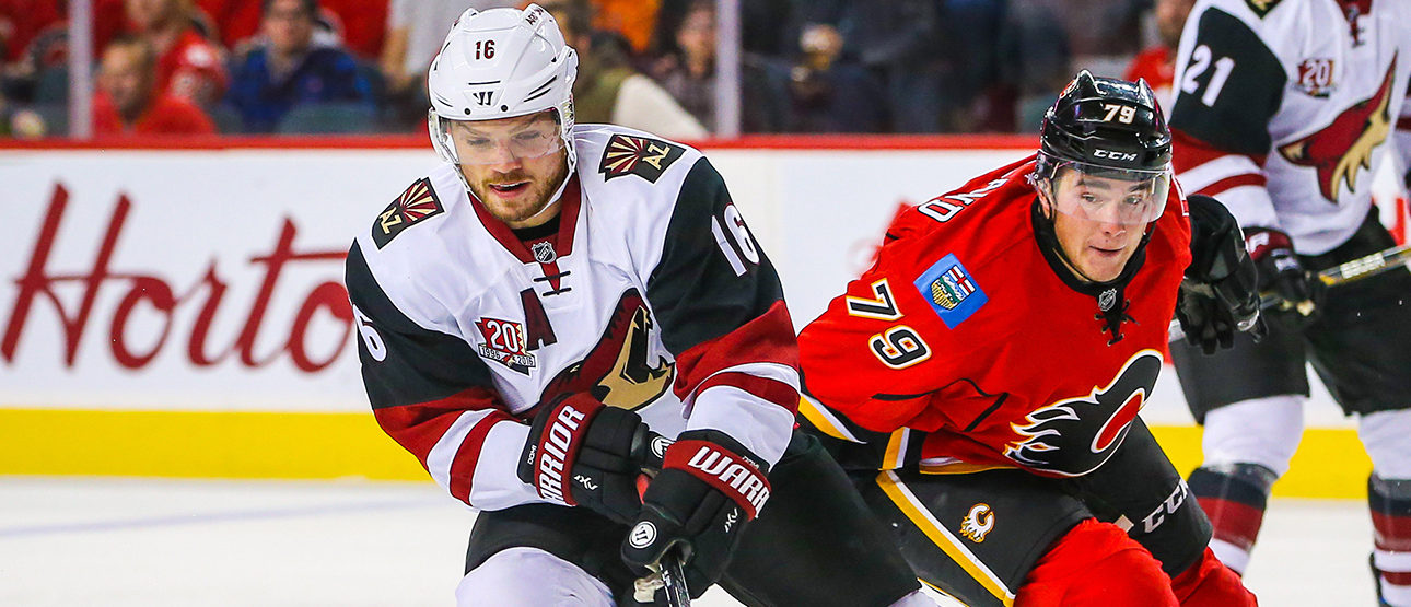 Arizona Coyotes left wing Max Domi (16) and Calgary Flames left wing Micheal Ferland (79) battle for the puck during the third period during a preseason hockey game at Scotiabank Saddledome. Calgary Flames won 2-1. Sergei Belski-USA TODAY Sports/Reuters
