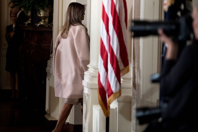 US first lady Melania Trump leaves after an event where US President Donald Trump nominated Kirstjen Nielsen to be US Secretary of Homeland Security in the East Room of the White House October 12, 2017 in Washington, DC. / AFP PHOTO / Brendan Smialowski (Photo credit should read BRENDAN SMIALOWSKI/AFP/Getty Images)