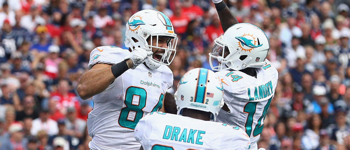 FOXBORO, MA - SEPTEMBER 18: Jordan Cameron #84 of the Miami Dolphins celebrates with Jarvis Landry #14 after scoring a touchdown during the fourth quarter against the New England Patriots at Gillette Stadium on September 18, 2016 in Foxboro, Massachusetts. (Photo by Maddie Meyer/Getty Images)