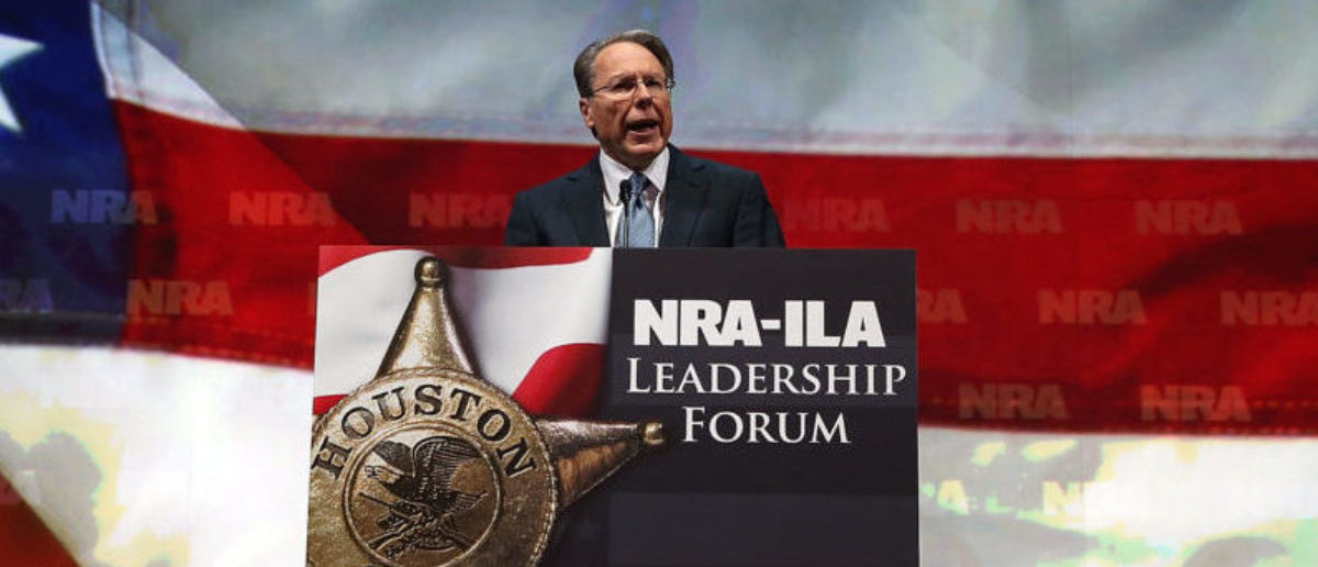 HOUSTON, TX - MAY 03: NRA executive vice president and CEO Wayne LaPierre speaks during the 2013 NRA Annual Meeting and Exhibits at the George R. Brown Convention Center on May 3, 2013 in Houston, Texas. More than 70,000 peope are expected to attend the NRA's 3-day annual meeting that features nearly 550 exhibitors, gun trade show and a political rally. The Show runs from May 3-5. (Photo by Justin Sullivan/Getty Images)