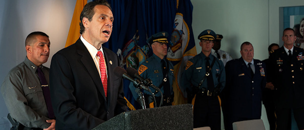 NEW YORK, NY - SEPTEMBER 24: New York Governor Andrew Cuomo (left) and New Jersey Gov. Chris Christie (not pictured) announce the initial findings from their joint review of security protocols, in response to growing, global terrorism, for New York and New Jersey during a press conference on September 24, 2014 at 7 World Trade Center in New York City. Last week, Christie and Cuomo requested a bi-state review of current safety and security protocols in response to the increased global terrorism threat and today, ten days later, they announced their initial findings as well as signed a memorandum of understanding to increase security for New York and New Jersey. (Photo by Bryan Thomas/Getty Images)