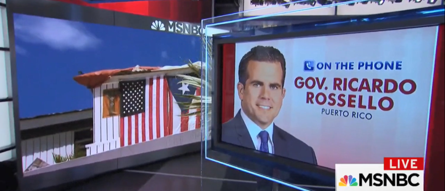 "Governor of Puerto Rico Ricardo Rosselló is ""grateful"" for the federal government's speedy response to Hurricane Maria. (Screenshot-MSNBC)"