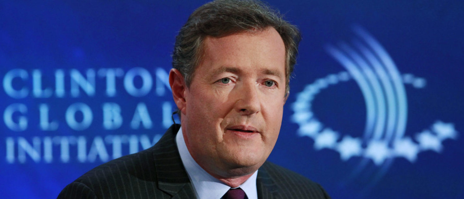 """Television host Piers Morgan hosts a conversation titled """"Communication by Design: Inspirational Change"""" during the final day of the Clinton Global Initiative 2012 (CGI) in New York September 25, 2012. The CGI was created by former U.S. President Bill Clinton in 2005 to gather global leaders to discuss solutions to the world's problems. REUTERS/Andrew Burton"""