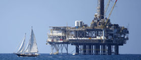 Offshore oil platform is seen in Huntington Beach