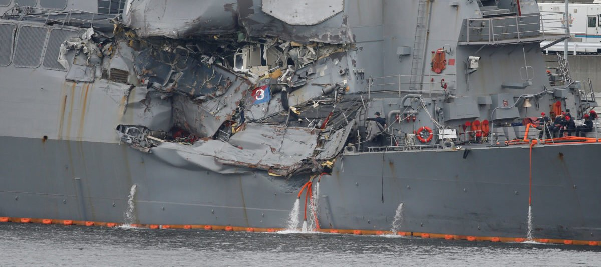 The Arleigh Burke-class guided-missile destroyer USS Fitzgerald, damaged by colliding with a Philippine-flagged merchant vessel, is seen at the U.S. naval base in Yokosuka,, Japan June 18, 2017. REUTERS/Toru Hanai