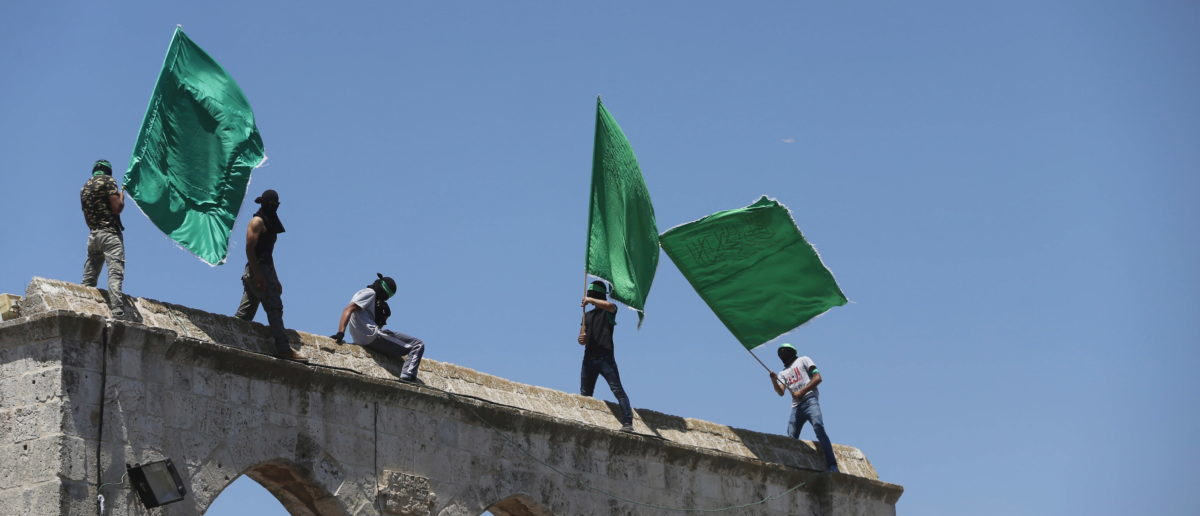 Hamas supporters wave the movement's flag [REUTERS/Ammar Awad]