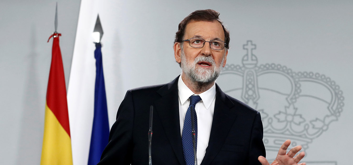 Spain's Prime Minister Mariano Rajoy speaks during a press conference at the Moncloa Palace in Madrid, Spain, October 21, 2017. REUTERS/Juan Medina