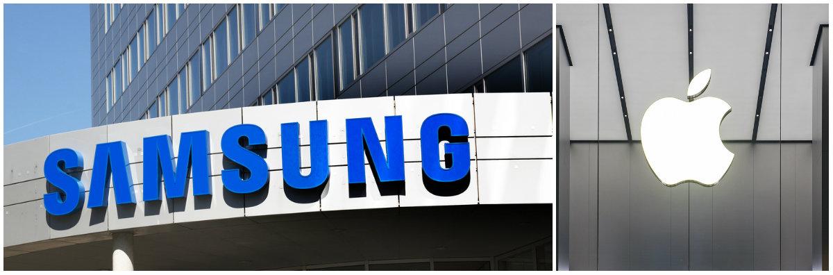 Left: Samsung logo [Shutterstock - JPStock] Right: Apple logo [Shutterstock - pio3]