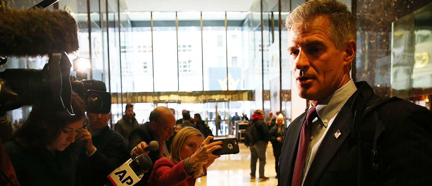 Former Massachusetts Senator Scott Brown leaves Trump Tower on November 21, 2016 in New York City. President-elect Donald Trump and his transition team are in the process of filling cabinet and other high level positions for the new administration. (Photo by Spencer Platt/Getty Images)