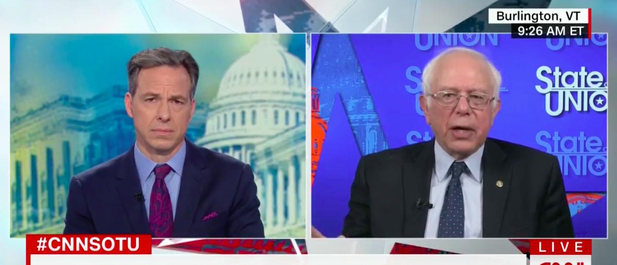 Screen Shot Sen. Bernie Sanders (CNN: Oct 1, 2017)