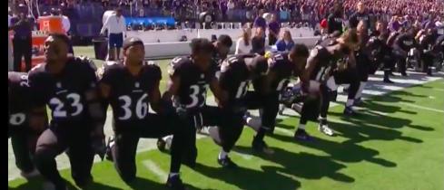 Baltimore Ravens kneeling (photo: CBS Screenshot)