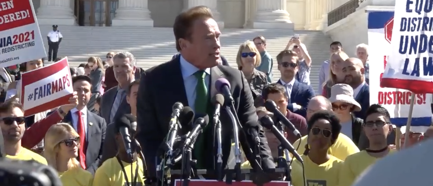 Arnold Schwarzenegger speaks outside the U.S. Supreme Court about gerrymandering. (Screenshot/TheDCNF)