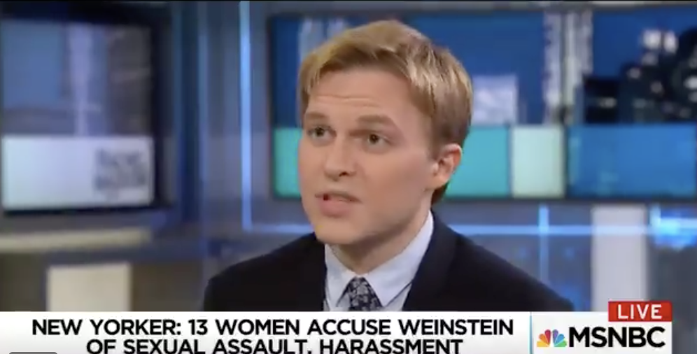Ronan Farrow on Maddow talking about his story on Harvey Weinstein (Screen capture from Twitter video, October 10, 2017)