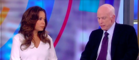 Arizona Republican Sen. John McCain continued his criticism of wealthy Vietnam War draft dodgers in a somewhat veiled criticism of President Donald Trump on Monday.  (Screengrab/ABC The Vew)