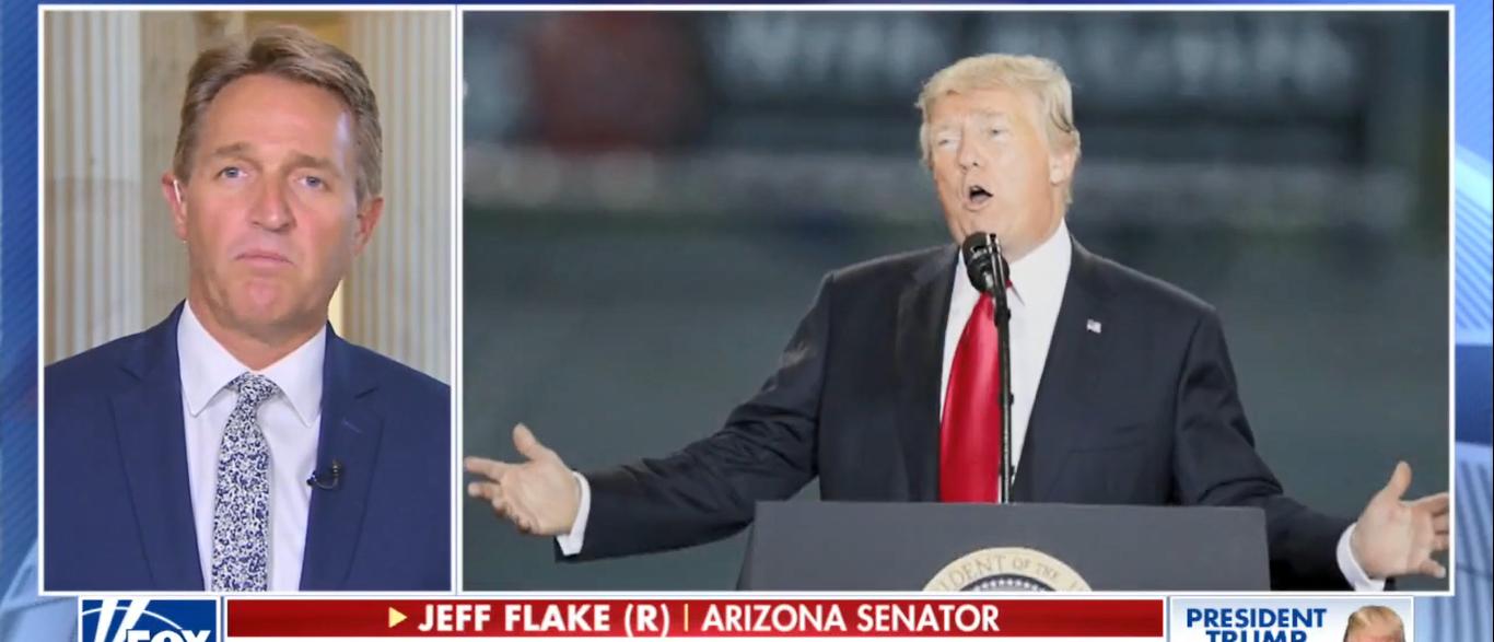 Sen. Jeff Flake Says He Has No Regrets Taking On Trump On America's Newsroom 10-17-17 (Screenshot-Fox News)