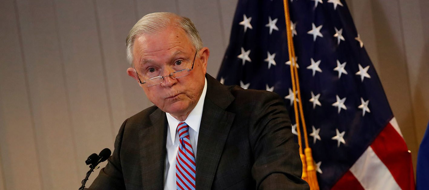 U.S. Attorney General Jeff Sessions delivers remarks on the U.S. system for asylum-seekers at the Executive Office for Immigration Review in Falls Church, Virginia, U.S. October 12, 2017. REUTERS/Jonathan Ernst