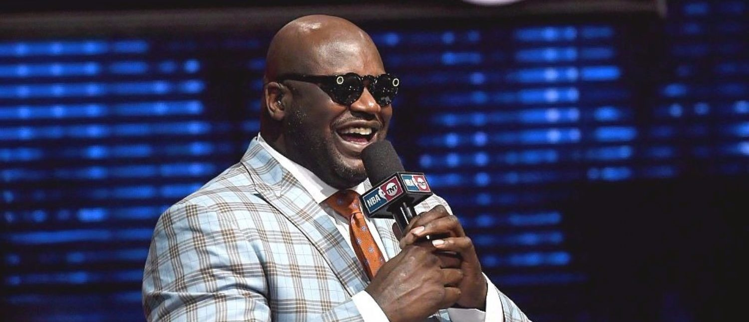 LAS VEGAS, NV - JANUARY 05: NBA analyst Shaquille O'Neal laughs as he tries a pair of Snapchat Spectacles that record circular video for Snapchat during a live telecast of 'NBA on TNT' at CES 2017 at the Sands Expo and Convention Center on January 5, 2017 in Las Vegas, Nevada. [Photo by Ethan Miller/Getty Images]