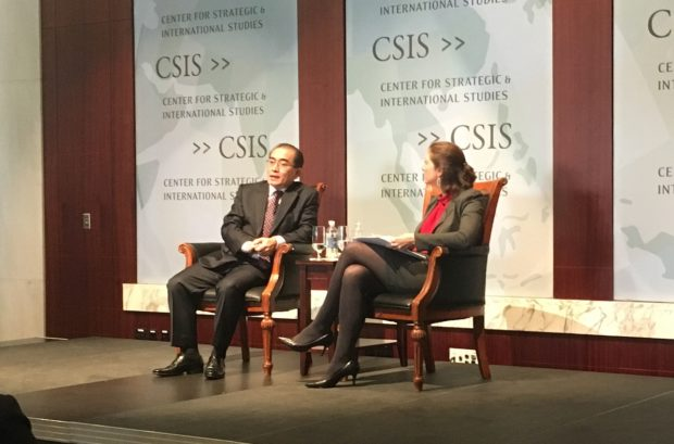 Thae Yong Ho, a former North Korean diplomat, speaking at the Center for Strategic and International Studies (Photo via Ryan Pickrell/Daily Caller News Foundation)