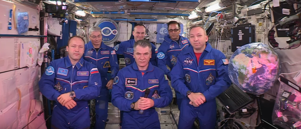 The Expedition 53 Team On The International Space Station speaks with Pope Francis, Oct. 26, 2017 (NASA/Youtube screenshot)