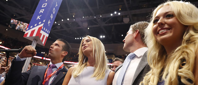 Members of Republican U.S. presidential candidate Donald Trump's family, son Donald Trump Jr. (L), daughter Ivanka (2nd from L), son Eric (2nd from R) and daughter Tiffany celebrate after their father won the nomination at the Republican National Convention in Cleveland, Ohio, U.S. July 19, 2016. REUTERS/Aaron P. Bernstein