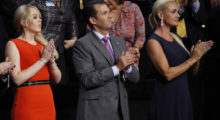 Tiffany Trump, Donald Trump Jr. and Vanessa Trump applaud PayPal co-founder Peter Thiel at the Republican National Convention in Cleveland, Ohio, U.S. July 21, 2016. REUTERS/Jim Young