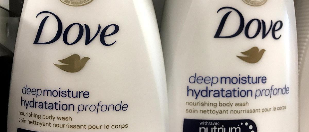 Two bottles of Dove's Deep Moisture body wash are displayed in Toronto, Ontario, Canada, October 8, 2017. REUTERS/Chris Helgren