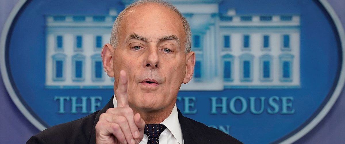 White House Chief of Staff John Kelly speaks during a daily briefing at the White House in Washington, U.S., October 19, 2017. REUTERS/Yuri Gripas.