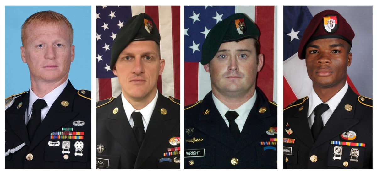 A combination photo of U.S. Army Special Forces Sergeant Jeremiah Johnson (L to R), U.S. Special Forces Sgt. Bryan Black, U.S. Special Forces Sgt. Dustin Wright and U.S. Special Forces Sgt. La David Johnson killed in Niger, West Africa on October 4, 2017, in these handout photos released October 18, 2017.  Courtesy U.S. Army Special Operations Command/Handout via REUTERS