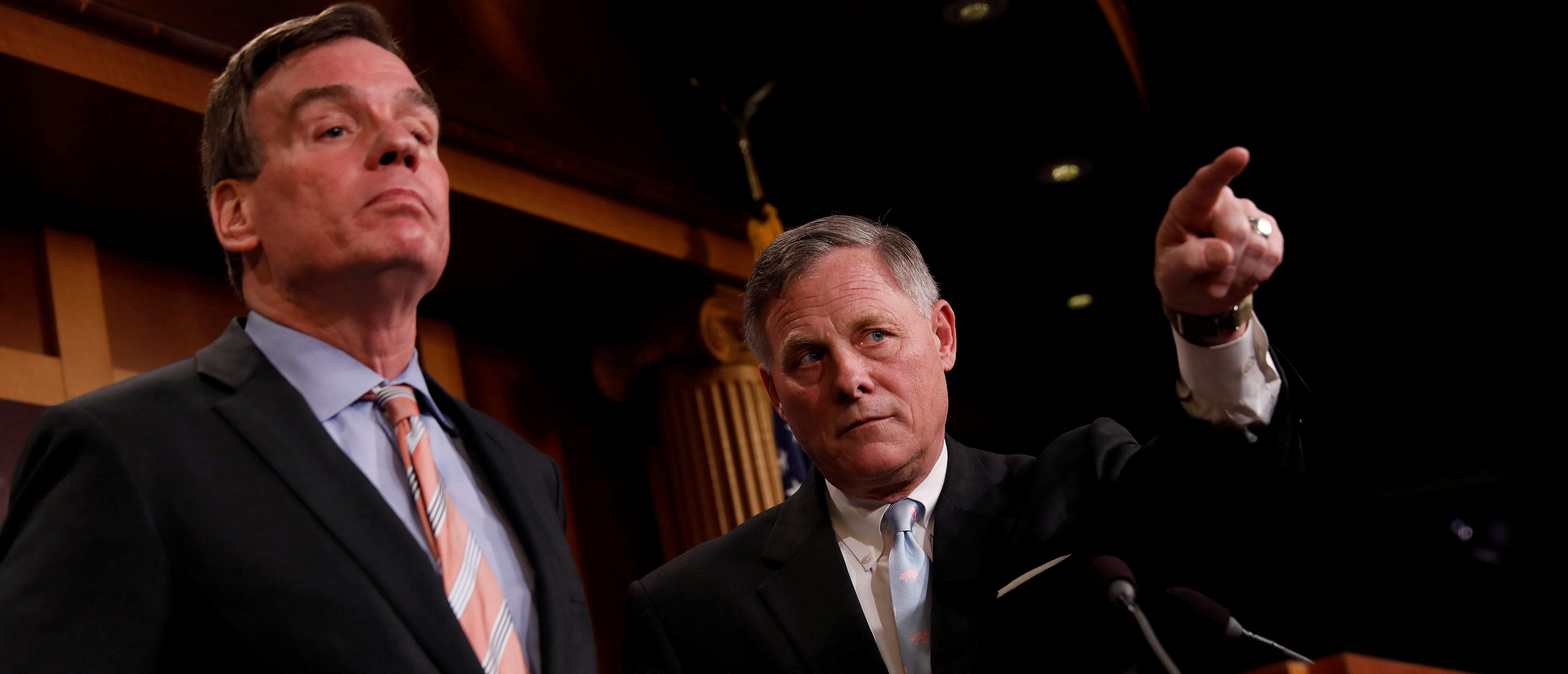 Senate Intelligence Committee Chairman Sen. Richard Burr (R-NC), accompanied by Senator Mark Warner (D-VA), vice chairman of the committee, speaks at a news conference to discuss their probe of Russian interference in the 2016 election on Capitol Hill in Washington, D.C., March 29, 2017. REUTERS/Aaron P. Bernstein