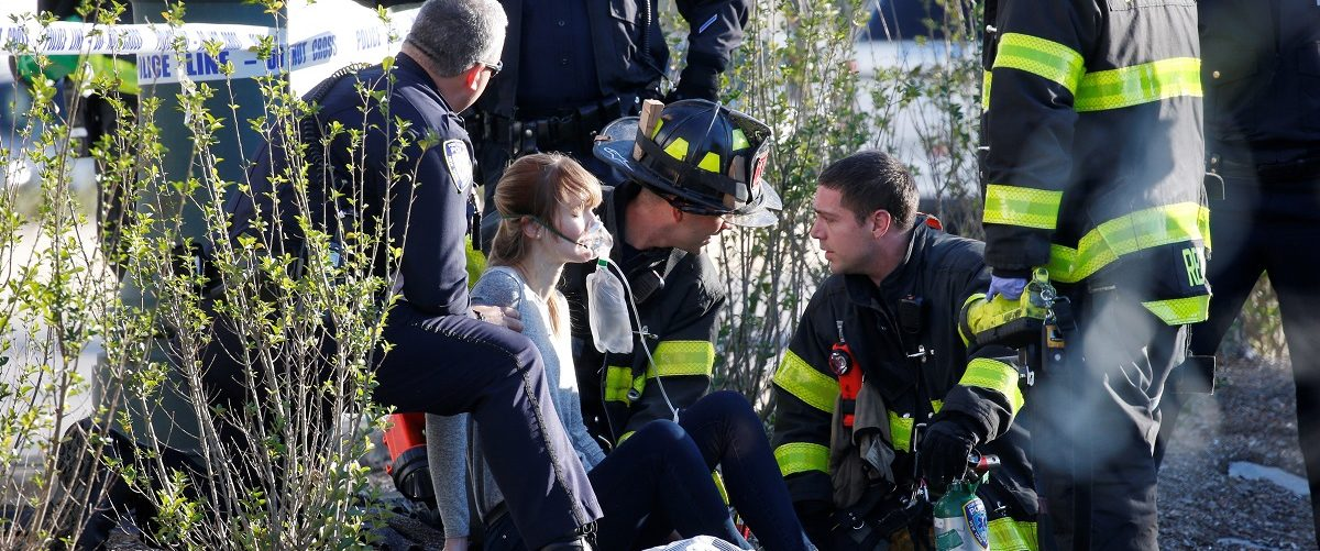 A woman is aided by first responders after sustaining injury on a bike path in lower Manhattan in New York, NY, U.S., October 31, 2017. REUTERS/Brendan McDermid.