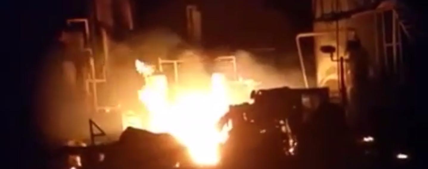 Louisian oil rig catches fire (screenshot/FresnoBee)
