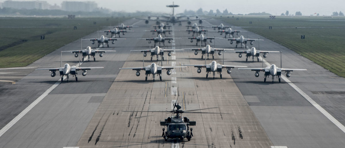 Fully armed aircraft from the 18th Wing conduct an elephant walk during a no-notice exercise April 12, 2017, at Kadena Air Base, Japan. The 18th Wing operates combat ready fleets of HH-60 Pave Hawks, F-15 Eagles, E-3 Sentries and KC-135 Stratotankers, making it the largest combat-ready wing in the U.S. Air Force. Kadena AB provides leading-edge counter air, command and control, air refueling and combat search and rescue operations, enabling theater commanders of joint and allied partners to project and enhance lethal, persistent and flexible combat power in response to adversaries. (U.S. Air Force photo/Senior Airman John Linzmeier)