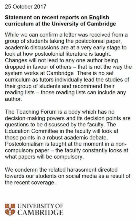 Cambridge University Statement (Credit: Cambridge University)