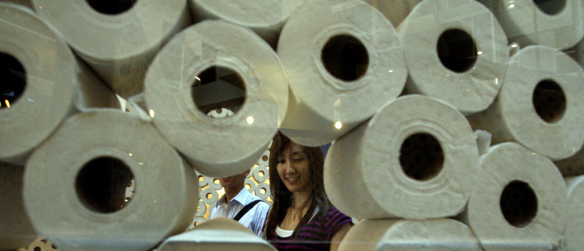 """Elizabeth Wong walks through a life-size maze made up of more than 5000 rolls of bathroom tissue in Toronto August 27, 2010. Entitled """"Walled In"""", the art installation is designed to raise awareness of untreated urinary and bladder conditions such as overactive bladder. REUTERS/Mike Cassese"""
