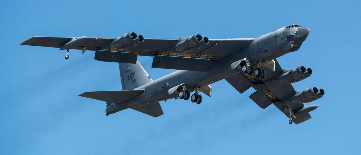 "A B-52H Stratofortress takes off after being taken out of long term storage Feb. 13, 2015, at Davis-Monthan Air Force Base, Ariz. The aircraft was decommissioned in 2008 and has spent the last seven years sitting in the ""Boneyard,"" but was selected to be returned to active status and will eventually rejoin the B-52 fleet. The B-52 was flown by the 309th Aerospace Maintenance and Regeneration Group. (U.S. Air Force photo/Master Sgt. Greg Steele)"