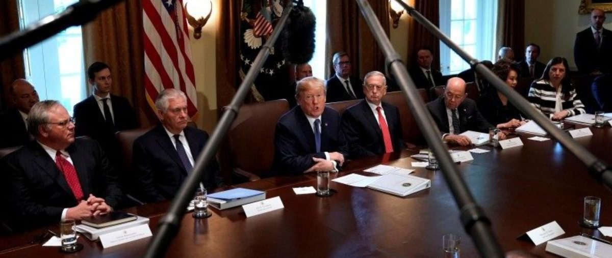 President Trump speaks during a cabinet meeting at the White House. Photo: REUTERS/Kevin Lamarque