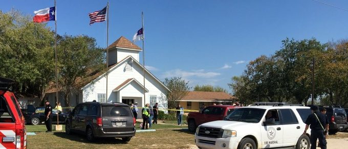 The area around a site of a mass shooting is taped out in Sutherland Springs, Texas, U.S., November 5, 2017, in this picture obtained via social media. MAX MASSEY/ KSAT 12/via REUTERS