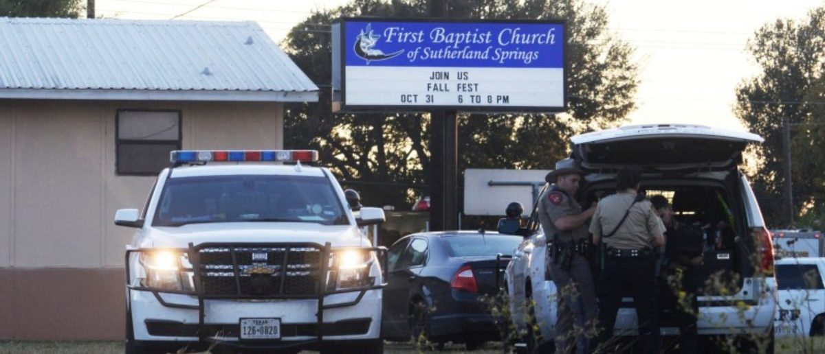 First responders are at the scene of shooting at the First Baptist Church in Sutherland Springs, Texas, U.S., November 5, 2017.   REUTERS/Joe Mitchell