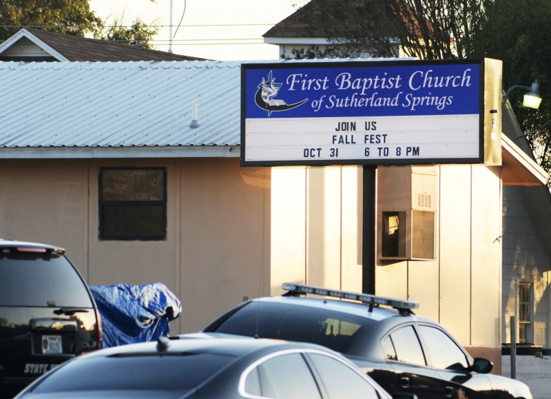 First responders are at the shooting scene at the First Baptist Church in Sutherland Springs, Texas, U.S., November 5, 2017. REUTERS/Joe Mitchell