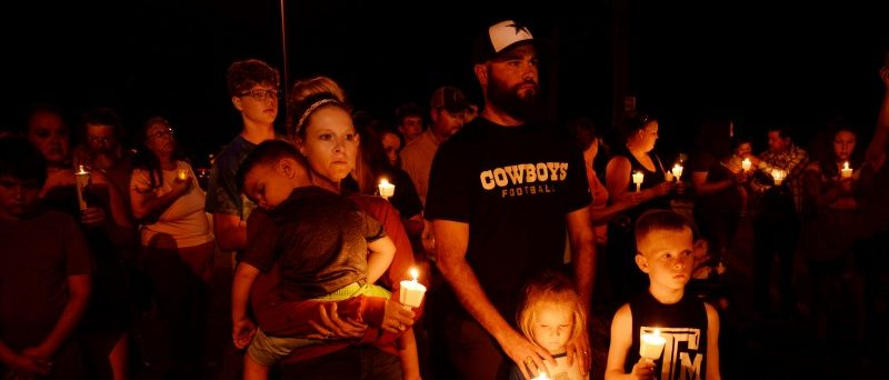 Mourners attend a candle light vigil after a mass shooting at the First Baptist Church in Sutherland Springs, Texas, U.S., November 5, 2017.   REUTERS/Joe Mitchell