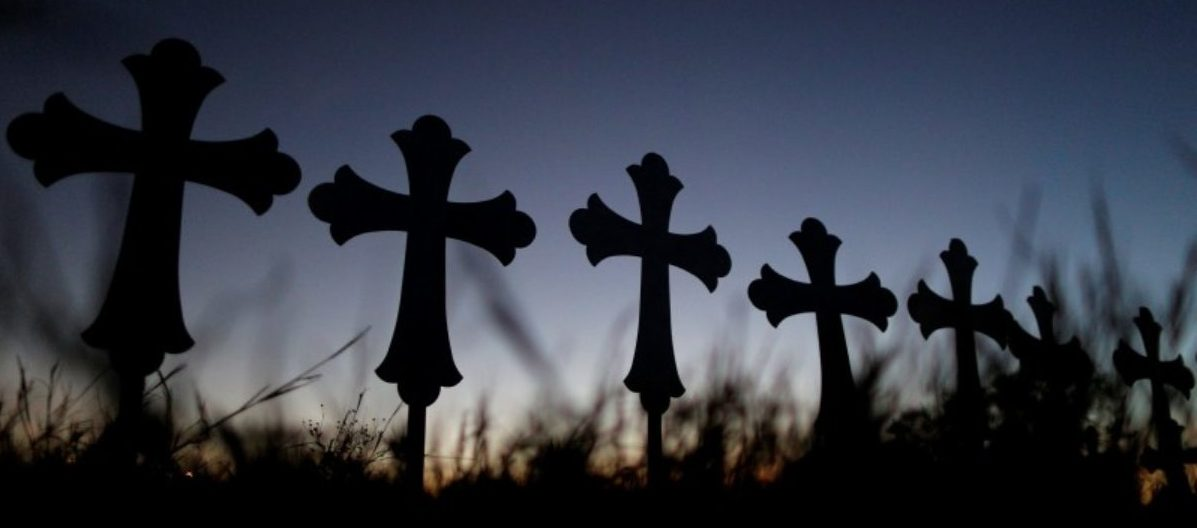 Crosses are seen near a vigil in memory of the victims killed in the shooting at the First Baptist Church of Sutherland, Texas, U.S., November 6, 2017. REUTERS/Jonathan Bachman