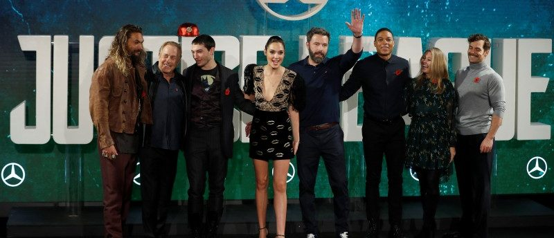 The cast and producers pose for photographers at the Justice League photocall, at The College, in London, Britain November 4, 2017. REUTERS/ Peter Nicholls