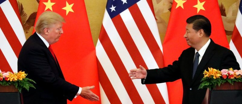 U.S. President Donald Trump and China's President Xi Jinping make joint statements at the Great Hall of the People in Beijing, China, November 9, 2017. REUTERS/Jonathan Ernst