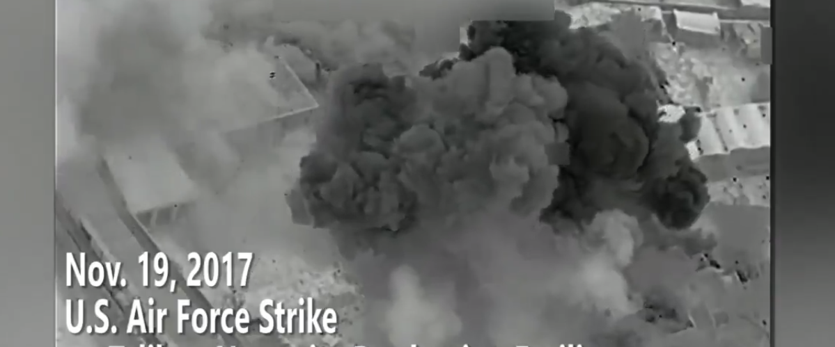 U.S. obliterates Taliban narcotics factory. Screenshot/Twitter.